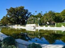 Beverly Hills Sign en Beverly Gardens Park Imagen de archivo libre de regalías