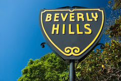 Beverly Hills sign in Los Angeles close-up view. Beverly Hills sign in Los Angeles park with beautiful blue sky in background Stock Image