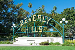 Beverly Hills sign in Los Angeles park. With beautiful blue sky in background Stock Image