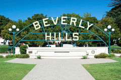 Beverly Hills sign in Los Angeles park. With beautiful blue sky in background Royalty Free Stock Photo