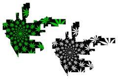 Beverly Hills stad - översikten är det planlagda cannabisbladet stock illustrationer