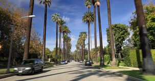 Beverly Hills-straat met palmen stock footage