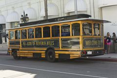 Beverly Hills tram on the Rodeo Drive Royalty Free Stock Images