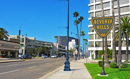Beverly Hills, United States. BEVERLY HILLS, US -  OCTOBER 16: A Beverlly Hills sign in Wilshire Boulevard on October 16, 2011 in Beverly Hills, US. The affluent Stock Photo