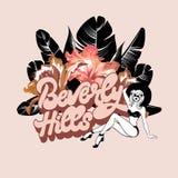 Beverly Hills Utdragen bokstäver för vektorhand med illustrationen av den nätta flickan med isolerade blommor royaltyfri illustrationer