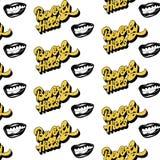 Beverly Hills Vectorpatroon met handwrittem van letters voorzien geïsoleerd met hand drawm illustratie van glimlach royalty-vrije illustratie
