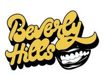 Beverly Hills Vektorhandwrittembokstäver som isoleras med handdrawmillustrationen av leendet vektor illustrationer