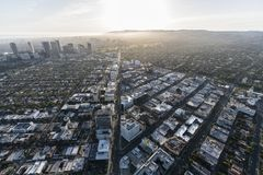 Beverly Hills Wilshire Blvd Aerial View Royalty Free Stock Photography