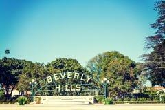 Beverly Hills znak na jasnym dniu Zdjęcia Royalty Free