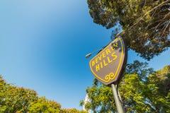 Beverly Hills znak pod niebieskim niebem Obrazy Royalty Free