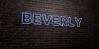 BEVERLY - realistiskt neontecken på bakgrund för tegelstenvägg - 3D framförd fri materielbild för royalty royaltyfri illustrationer