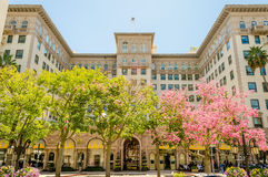 Beverly Wilshire Hotel i Beverly Hills, Kalifornien arkivbild