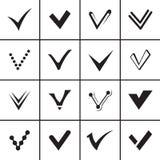 Bevestig geplaatste tekens en tikpictogrammen Royalty-vrije Stock Foto