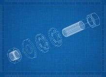 Bevestigingsmiddel 3D blauwdruk royalty-vrije illustratie