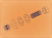 Bevestigingsmiddel - Retro Blauwdruk stock illustratie