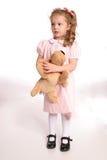 Bevindend meisje met hond stock fotografie