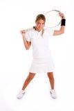 Bevindende de holdingsracket van de tennisspeler Stock Afbeeldingen