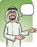 Bevindende glimlachende Arabische mens die richting tonen Stock Foto