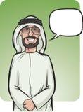 Bevindende glimlachende Arabische mens met toespraakballon Stock Foto's