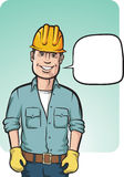Bevindende glimlachende bouwvakker met toespraakballon Stock Fotografie