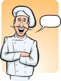 Bevindende glimlachende chef-kokkok met toespraakballon Royalty-vrije Stock Fotografie