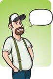 Bevindende glimlachende landbouwer met toespraakballon Royalty-vrije Stock Foto's
