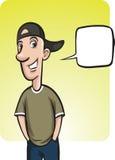 Bevindende het glimlachen kerel in honkbal GLB met toespraakballon Stock Foto's