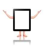 Bevindende tabletPC met menselijke lidmaten Royalty-vrije Stock Afbeeldingen