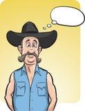 Bevindende verraste cowboy met toespraakballon Stock Afbeeldingen