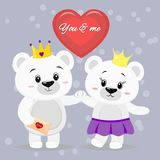 Bevindt mooie ijsbeer zich twee met kronen op hun hoofden met hun handen, een rood hart in een beeldverhaalstijl royalty-vrije illustratie
