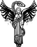 Bevingad ängel och orm stock illustrationer