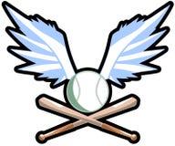 Bevingad baseballboll med slagträn Royaltyfri Fotografi