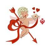 Bevingad Cupid med kuvertet Arkivfoto