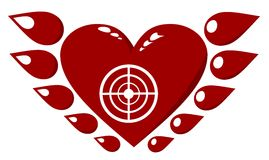 Bevingad röd hjärta Royaltyfri Fotografi