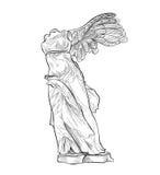 Bevingad staty för grekisk gränsmärke Forntida Grekland symbol vektor illustrationer