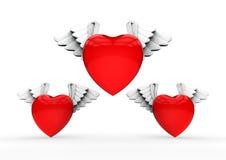 Bevingade hjärtor för valentin Royaltyfri Foto
