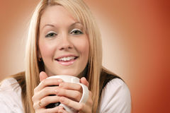 Bevitore felice 2 del caffè Fotografia Stock