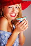 Bevitore teenager del caffè Immagini Stock