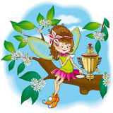 Bevitori leggiadramente del tè della piccola foresta royalty illustrazione gratis
