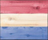 Bevlekt hout voor Nederland Luxemburg of de vlag van de V.S. Stock Foto's