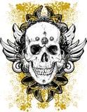Bevlekte grunge schedelillustratie Stock Afbeeldingen