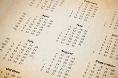 Bevlekte jaarlijkse kalenderpagina royalty-vrije stock fotografie