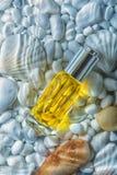 Bevochtigende kosmetische olie onder een laag van water op de witte stenen en overzeese shells Stock Foto