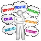 Bevollmächtigen Sie anspornen motivieren denkenden Person Thought Clouds Vektor Abbildung