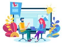 Bevordering in het netwerk, manager voor het verre werk, het teamwerk  royalty-vrije illustratie
