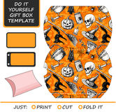 Bevorzugung, Geschenkbox gestempelschnitten Kastenschablone mit Halloween-Muster Stockbilder