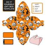 Bevorzugung, Geschenkbox gestempelschnitten Kastenschablone mit Halloween-Muster Lizenzfreie Stockbilder