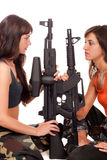 beväpnad flickabild två Arkivbild