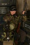 Beväpnad stridsoldat Fotografering för Bildbyråer