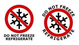 Bevries niet, teken koelen Zwart sneeuwvloksymbool in rode gekruiste cirkel Versie met hieronder tekst, en rond het pictogram royalty-vrije illustratie